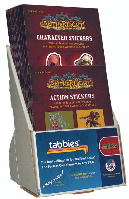 Tabbies 10 Packs of - Aetherlight® sticker display, includes 20 pkgs 10 pkgs 28501 character, 10 pkgs 28502 action