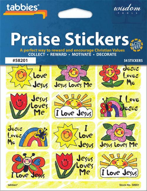 """Tabbies 10 Packs of Praise Stickers -  Jesus Love, 1-3/8"""" x 7/8"""", 54/pkg."""