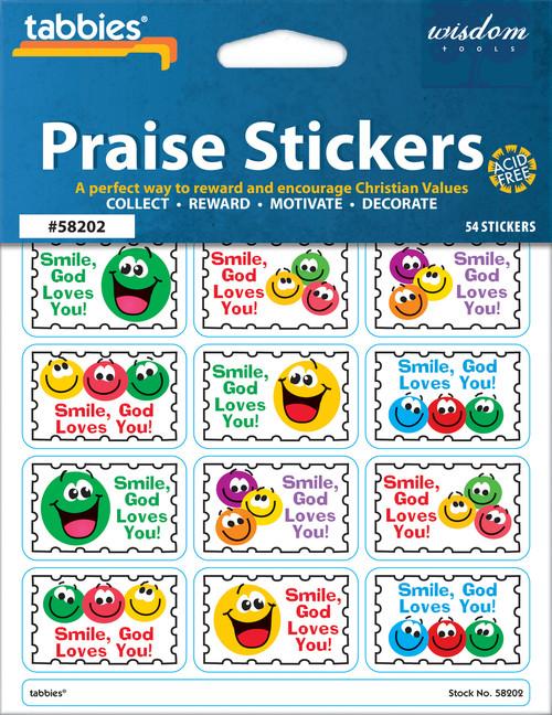 "Tabbies 10 Packs of Praise Stickers -  Smiley, 1-3/8"" x 7/8"", 54/pkg."