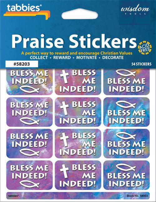 "Tabbies 10 Packs of Praise Stickers -  Bless Me, 1-3/8"" x 7/8"", 54/pkg."