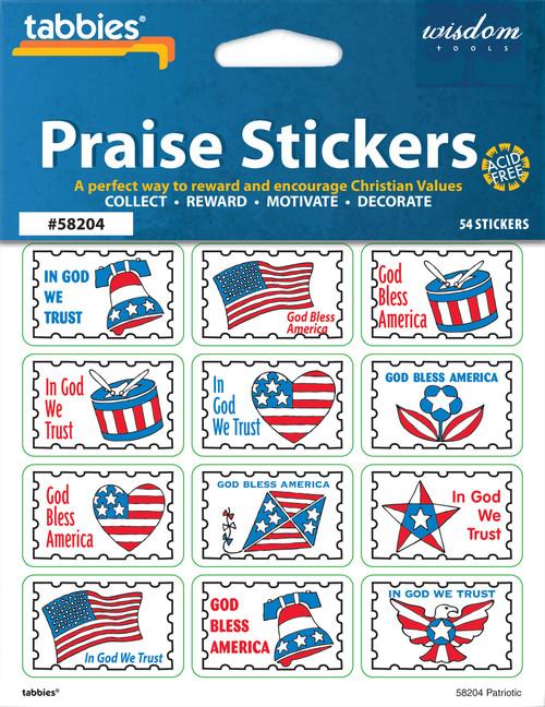 """Tabbies 10 Packs of Praise Stickers -  Patriotic, 1-3/8"""" x 7/8"""", 54/pkg."""