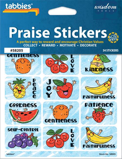 "Tabbies 10 Packs of Praise Stickers -  Sentiment, 1-3/8"" x 7/8"", 54/pkg."