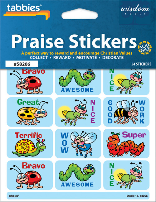 "Tabbies 10 Packs of Praise Stickers -  Merit, 1-3/8"" x 7/8"", 54/pkg."