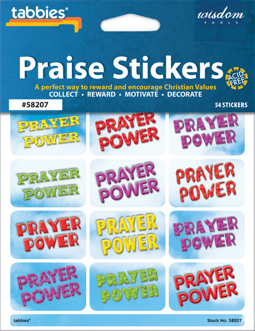"Tabbies 10 Packs of Praise Stickers -  Prayer Power, 1-3/8"" x 7/8"", 54/pkg."