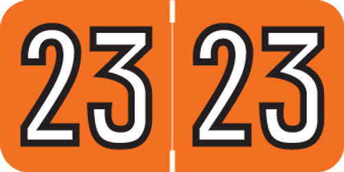 "Barkley Yearband Label (Rolls of 500) - 2023 - Orange - BAYM Series - Laminated -  3/4"" H x 1-1/2"" W"