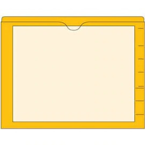 End Tab Pocket Folders with Colored Borders - Closed on 3 Sides, Top Opening - 11 Pt Stock - 2 Ply Tab - Yellow - Box of 100
