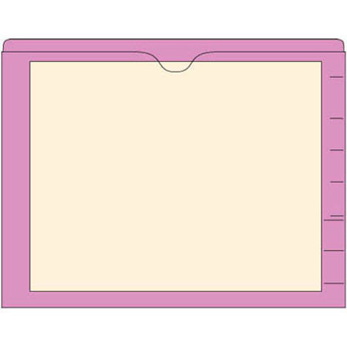 End Tab Pocket Folders with Colored Borders - Closed on 3 Sides, Top Opening - 11 Pt Stock - 2 Ply Tab - Violet- Box of 100
