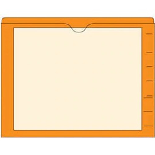 End Tab Pocket Folders with Colored Borders - Closed on 3 Sides, Top Opening - 11 Pt Stock - 2 Ply Tab - Orange - Box of 100