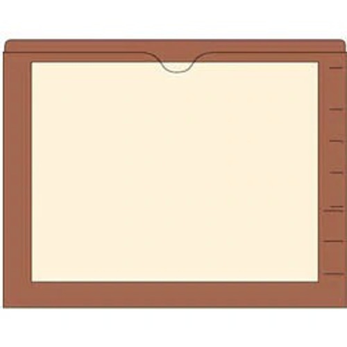 End Tab Pocket Folders with Colored Borders - Closed on 3 Sides, Top Opening - 11 Pt Stock - 2 Ply Tab - Brown - Box of 100