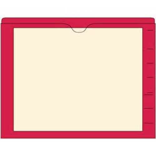 End Tab Pocket Folders with Colored Borders - Closed on 3 Sides, Top Opening - 11 Pt Stock - 2 Ply Tab - Red - Box of 100