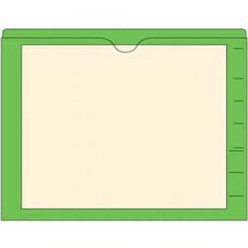 End Tab Pocket Folders with Colored Borders - Closed on 3 Sides, Top Opening - 11 Pt Stock - 2 Ply Tab - Green - Box of 100