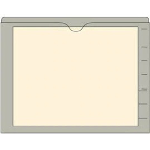 End Tab Pocket Folders with Colored Borders - Closed on 3 Sides, Top Opening - 11 Pt Stock - 2 Ply Tab - Gray - Box of 100