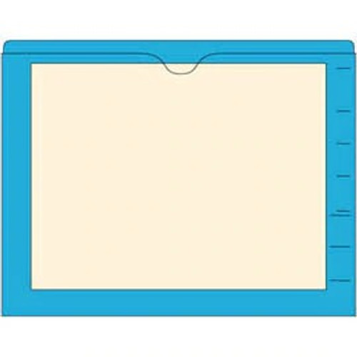 End Tab Pocket Folders with Colored Borders - Closed on 3 Sides, Top Opening - 11 Pt Stock - 2 Ply Tab - Blue - Box of 100