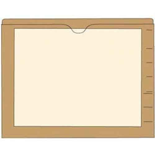 End Tab Pocket Folders with Colored Borders - Closed on 3 Sides, Top Opening - 11 Pt Stock - 2 Ply Tab - Tan - Box of 100
