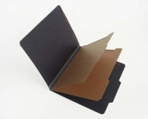 "Black Classification Folder with 2 Kraft Dividers, Letter Size, 2"" Grey Tyvek Expansion - 15/Box"