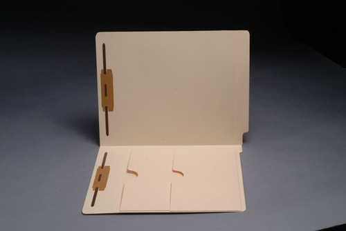 End Tab Manila Folder with 2 Pockets - Fasteners in Positions 1 & 3 - Letter Size - 11 Pt. Manila - Full Cut End Tab - Double Pockets Inside Front - 50/Box