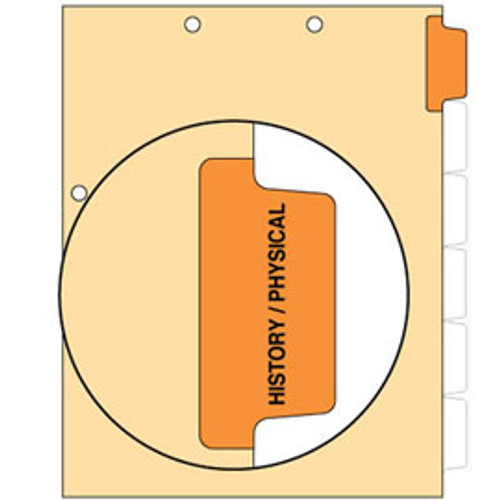 """History/Physical"" Side Tab Chart Dividers - Tab in Position 1 - Orange Mylar Tab - 100/Pack - (51103)"