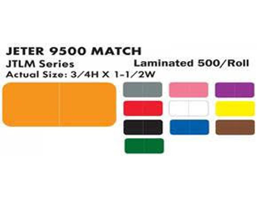 "JETER Solid Color Label - 9500 Series - Black  - 3/4"" H x 1-1/2"" W - 500/Roll"