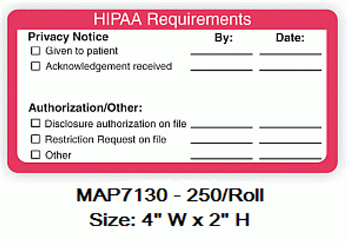 """HIPAA"" Requirements Label - 4""W x 2-1/2""H - White/Red - 250/Box"