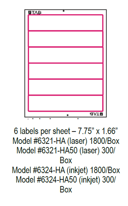 "TABQuik INKJET Labels - 6 Labels Per Sheet - 7.75"" x 1.66"" - (1800 Labels Per Pack)"