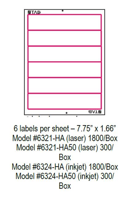 "TABQuik INKJET Labels - 6 Labels Per Sheet - 7.75"" x 1.66"" - (300 Labels Per Pack)"