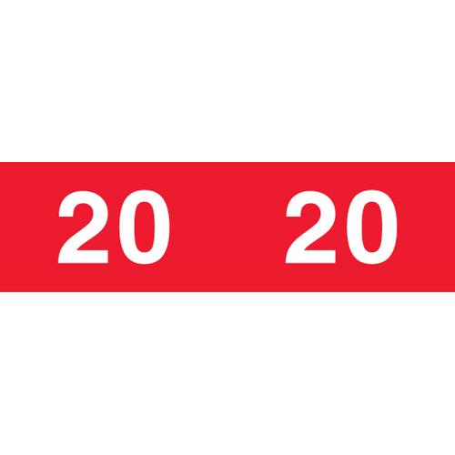 Ames  2020 Red Year Label L-A-DD07R134 Series - 1000/Roll