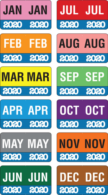 "Month/Year Labels 2020 - Complete Set Jan-December - 2,700 Labels - 1-1/2"" W x 1"" H"