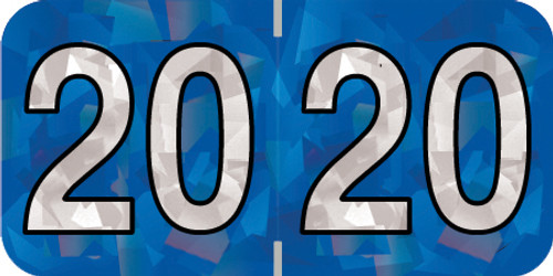 """Holographic Yearband Label (Rolls) 500 - 2020 - Blue - HBYM Series - Polylaminated -  3/4"""" H x 1-1/2"""" W"""