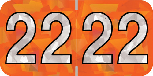"Holographic Yearband Label (Rolls) 500 - 2022 - Orange - HOYM Series - Polylaminated -3/4"" H x 1-1/2"" W"