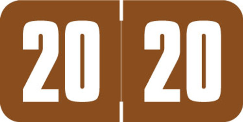 """Safeguard Yearband Label (Rolls of 500) - 2020 - BROWN - SGYM Series - Laminated -  3/4"""" H x 1-1/2"""" W"""