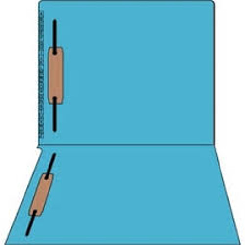 "Kardex Folders - End/Top Tab - Alphabetic - Fasteners in 1 & 3 - Letter Size - 3/4"" Expansion - Blue - 100/Box"