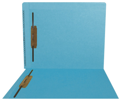 """Kardex Folders - End/Top Tab - Alphabetic - Fasteners in 1 & 3 - Letter Size - 3/4"""" Expansion - Blue - 50/Box"""
