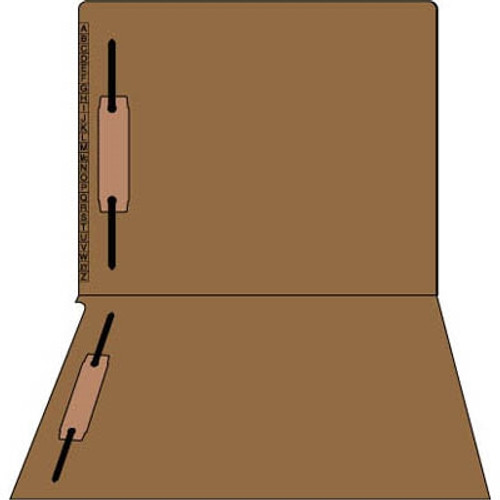 Kardex Sem-Scan Alpha Folders - End/Top Tab - BROWN - Fasteners in 1 & 3 - Letter Size - - 100/Box