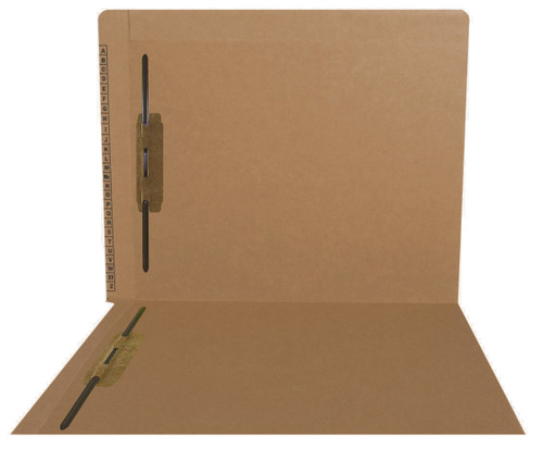 Kardex Sem-Scan Alpha Folders - End/Top Tab - BROWN - Fasteners in 1 & 3 - Letter Size - 50/Box