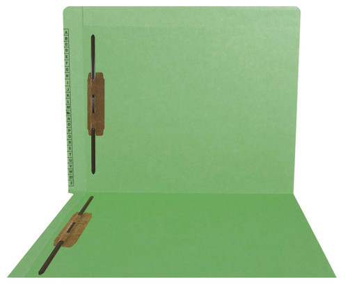 """Kardex Folders - End/Top Tab - Alphabetic - Fasteners in 1 & 3 - Letter Size - 3/4"""" Expansion - Green - 50/Box"""