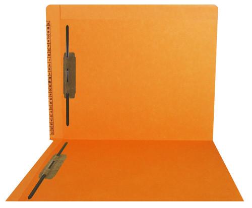 Kardex Sem-Scan Alpha Folders - End/Top Tab - ORANGE - Fasteners in 1 & 3 - Letter Size - 50/Box