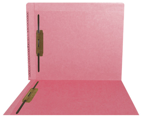 Kardex Sem-Scan Alpha Folders - End/Top Tab - PINK - Fasteners in 1 & 3 - Letter Size - 50/Box