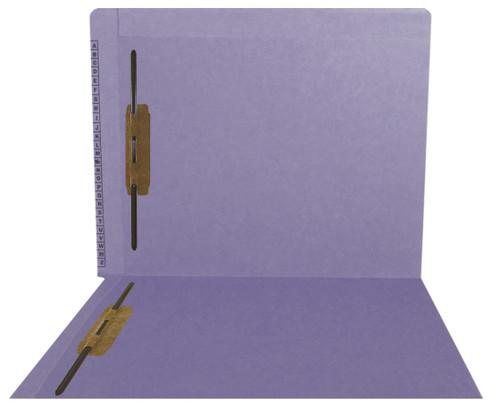 Kardex Sem-Scan Alpha Folders - End/Top Tab - PURPLE - Fasteners in 1 & 3 - Letter Size - 50/Box