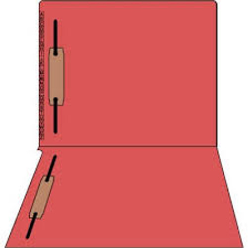 "Kardex Folders - End/Top Tab - Alphabetic - Fasteners in 1 & 3 - Letter Size - 3/4"" Expansion - Red - 100/Box"