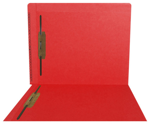 """Kardex Folders - End/Top Tab - Alphabetic - Fasteners in 1 & 3 - Letter Size - 3/4"""" Expansion - Red - 50/Box"""