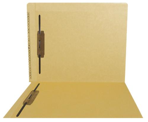 Kardex Sem-Scan Alpha Folders - End/Top Tab - TAN - Fasteners in 1 & 3 - Letter Size - 50/Box