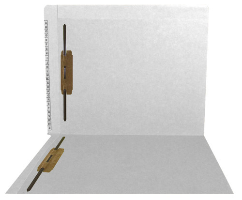 """Kardex Folders - End/Top Tab - Alphabetic - Fasteners in 1 & 3 - Letter Size - 3/4"""" Expansion - White - 50/Box"""