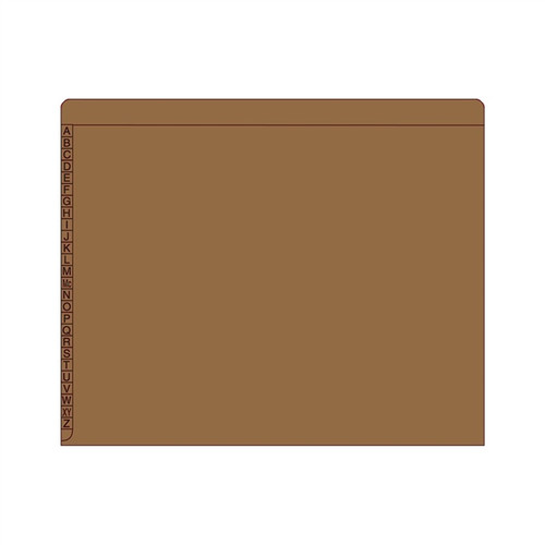 "Kardex Sem-Scan Alpha Folders - Letter Size - 11 Pt. Colored Stock - 3/4"" Expansion - Brown - 100/Box"
