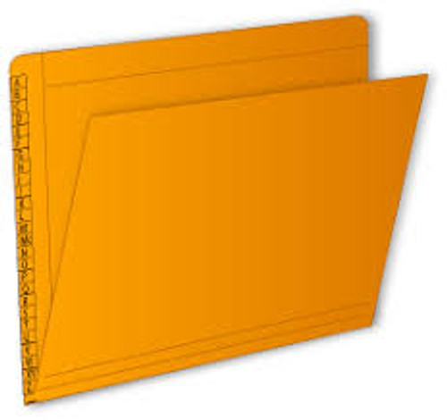 "End/Top Tab Alphabetic Kardex Folders - Letter Size - 11 Pt. Colored Stock - 3/4"" Expansion - Orange - 100/Box"