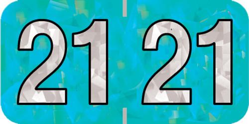 "Holographic Yearband Label (Rolls) 500 - 2021 - Aqua - HAYM Series - Polylaminated - 3/4"" H x 1-1/2"" W"