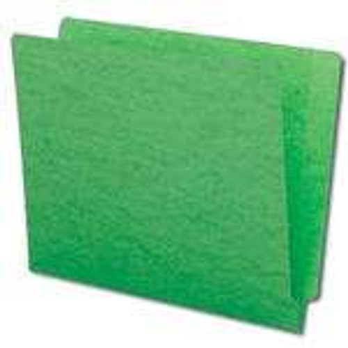 Green End Tab Folder w/U-Clip Fastener in Position 5 - Letter Size - 14 pt - Reinforced Full End Tab - 50/Box