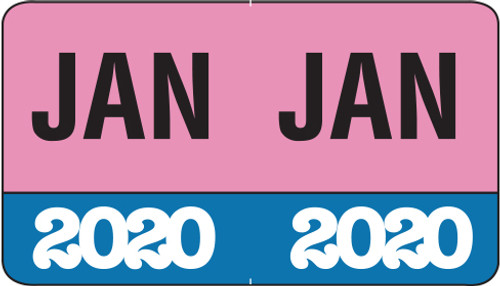 "Month/Year Labels 2020 - January - 225 Labels Per Pack - 1-1/2"" W x 1"" H"
