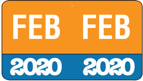 "Month/Year Labels 2020 - February - 225 Labels Per Pack - 1-1/2"" W x 1"" H"