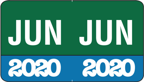 "Month/Year Labels 2020 - June - 225 Labels Per Pack - 1-1/2"" W x 1"" H"