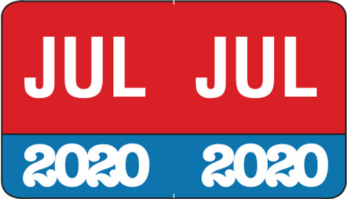 "Month/Year Labels 2020 - July - 225 Labels Per Pack - 1-1/2"" W x 1"" H"